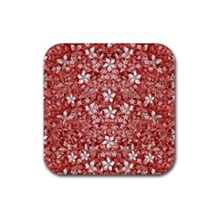 Flowers Pattern Collage In Coral An White Colors Drink Coaster (square) by dflcprints