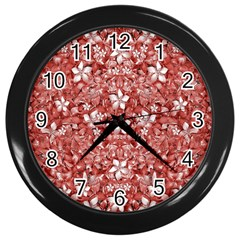 Flowers Pattern Collage In Coral An White Colors Wall Clock (black) by dflcprints