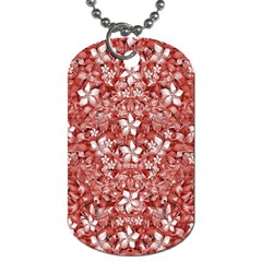 Flowers Pattern Collage In Coral An White Colors Dog Tag (two Sided)  by dflcprints