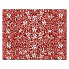 Flowers Pattern Collage In Coral An White Colors Jigsaw Puzzle (rectangle) by dflcprints