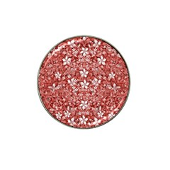 Flowers Pattern Collage In Coral An White Colors Golf Ball Marker 4 Pack (for Hat Clip) by dflcprints