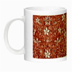 Flowers Pattern Collage In Coral An White Colors Glow In The Dark Mug by dflcprints