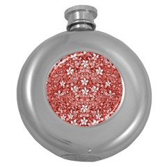 Flowers Pattern Collage In Coral An White Colors Hip Flask (round) by dflcprints