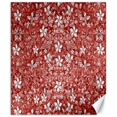 Flowers Pattern Collage In Coral An White Colors Canvas 20  X 24  (unframed) by dflcprints