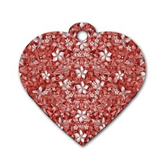 Flowers Pattern Collage In Coral An White Colors Dog Tag Heart (two Sided) by dflcprints