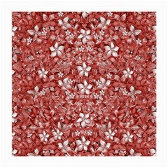 Flowers Pattern Collage In Coral An White Colors Glasses Cloth (medium, Two Sided) by dflcprints