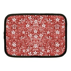 Flowers Pattern Collage In Coral An White Colors Netbook Sleeve (medium) by dflcprints