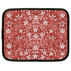 Flowers Pattern Collage In Coral An White Colors Netbook Sleeve (xxl) by dflcprints