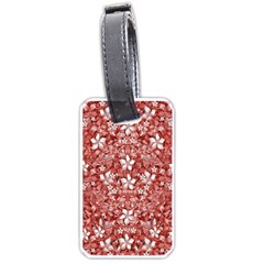 Flowers Pattern Collage In Coral An White Colors Luggage Tag (one Side) by dflcprints