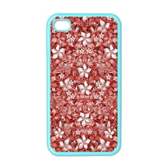Flowers Pattern Collage In Coral An White Colors Apple Iphone 4 Case (color) by dflcprints