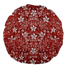Flowers Pattern Collage In Coral An White Colors 18  Premium Round Cushion  by dflcprints