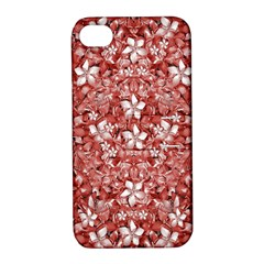Flowers Pattern Collage In Coral An White Colors Apple Iphone 4/4s Hardshell Case With Stand by dflcprints