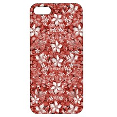Flowers Pattern Collage In Coral An White Colors Apple Iphone 5 Hardshell Case With Stand by dflcprints