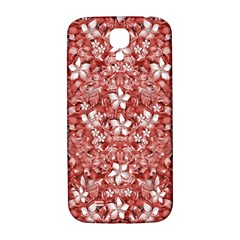 Flowers Pattern Collage In Coral An White Colors Samsung Galaxy S4 I9500/i9505  Hardshell Back Case by dflcprints