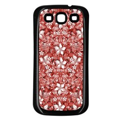 Flowers Pattern Collage In Coral An White Colors Samsung Galaxy S3 Back Case (black) by dflcprints