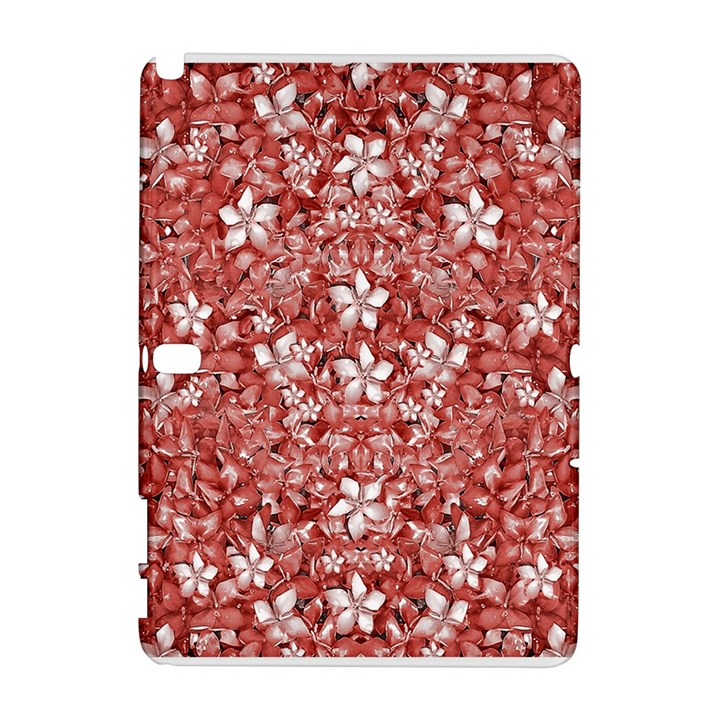 Flowers Pattern Collage in Coral an White Colors Samsung Galaxy Note 10.1 (P600) Hardshell Case
