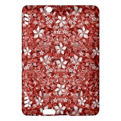 Flowers Pattern Collage In Coral An White Colors Kindle Fire Hdx Hardshell Case by dflcprints