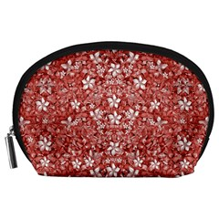 Flowers Pattern Collage In Coral An White Colors Accessory Pouch (large) by dflcprints