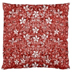 Flowers Pattern Collage In Coral An White Colors Large Flano Cushion Case (one Side) by dflcprints