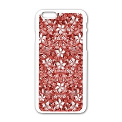 Flowers Pattern Collage In Coral An White Colors Apple Iphone 6 White Enamel Case by dflcprints