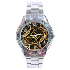 Futuristic Ornament Decorative Print Stainless Steel Watch by dflcprints