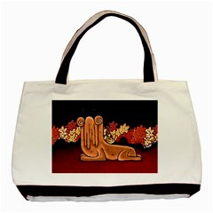 Cute Creature Fantasy Illustration Twin Sided Black Tote Bag by dflcprints