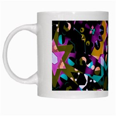 Digital Futuristic Geometric Pattern White Coffee Mug by dflcprints