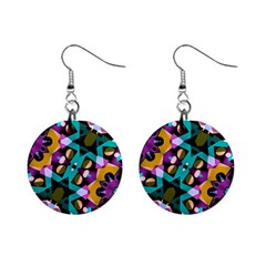 Digital Futuristic Geometric Pattern Mini Button Earrings by dflcprints