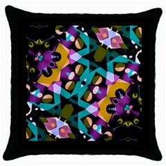 Digital Futuristic Geometric Pattern Black Throw Pillow Case by dflcprints