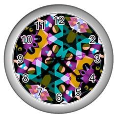Digital Futuristic Geometric Pattern Wall Clock (silver) by dflcprints