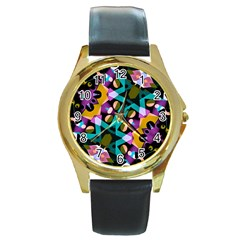 Digital Futuristic Geometric Pattern Round Leather Watch (gold Rim)  by dflcprints