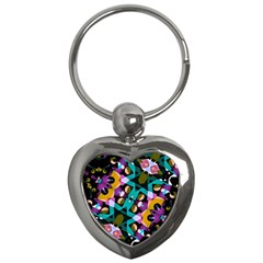 Digital Futuristic Geometric Pattern Key Chain (heart) by dflcprints