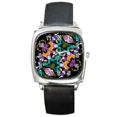 Digital Futuristic Geometric Pattern Square Leather Watch by dflcprints