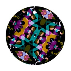 Digital Futuristic Geometric Pattern Round Ornament (two Sides) by dflcprints