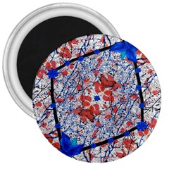 Floral Pattern Digital Collage 3  Button Magnet by dflcprints