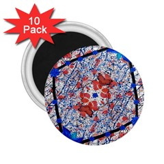 Floral Pattern Digital Collage 2 25  Button Magnet (10 Pack) by dflcprints