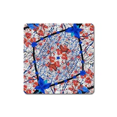 Floral Pattern Digital Collage Magnet (square) by dflcprints