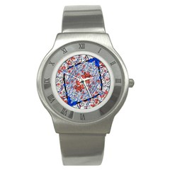 Floral Pattern Digital Collage Stainless Steel Watch (slim) by dflcprints