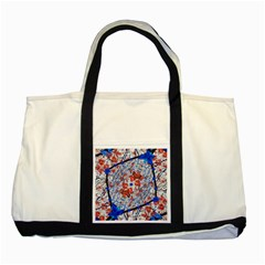 Floral Pattern Digital Collage Two Toned Tote Bag by dflcprints
