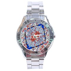 Floral Pattern Digital Collage Stainless Steel Watch by dflcprints