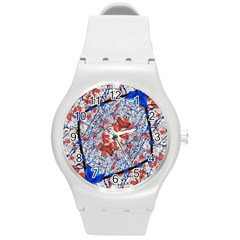 Floral Pattern Digital Collage Plastic Sport Watch (medium) by dflcprints