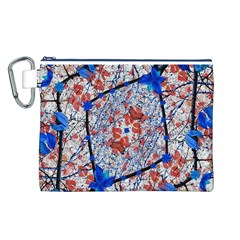 Floral Pattern Digital Collage Canvas Cosmetic Bag (large) by dflcprints