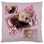 Pink Petunia Large Flano Cushion Case - Large Flano Cushion Case (Two Sides)