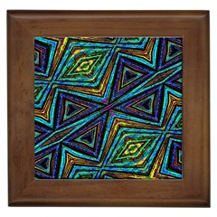 Tribal Style Colorful Geometric Pattern Framed Ceramic Tile by dflcprints