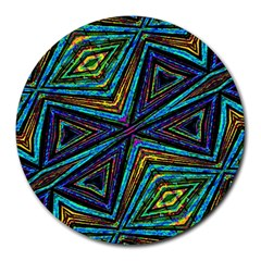 Tribal Style Colorful Geometric Pattern 8  Mouse Pad (round) by dflcprints