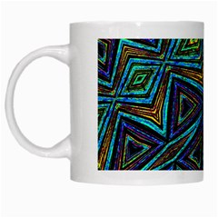 Tribal Style Colorful Geometric Pattern White Coffee Mug by dflcprints