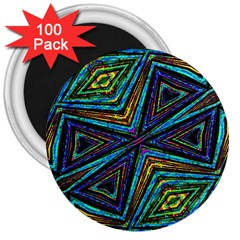 Tribal Style Colorful Geometric Pattern 3  Button Magnet (100 Pack) by dflcprints