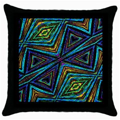 Tribal Style Colorful Geometric Pattern Black Throw Pillow Case by dflcprints