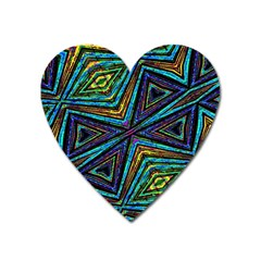 Tribal Style Colorful Geometric Pattern Magnet (heart) by dflcprints