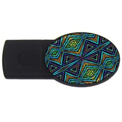 Tribal Style Colorful Geometric Pattern 2gb Usb Flash Drive (oval) by dflcprints